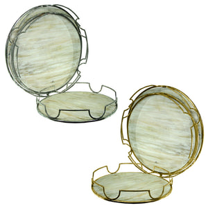 Sophisticated 3Piece Wooden And Metal Tray,2 Assorted, Silver And Gold