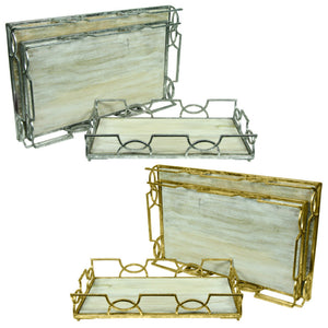 Rectangular Wooden And Metal Tray, Gold And Silver, 2 Assorted, Set of 3