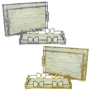 Well-Designed Wooden & Metal Tray, Gold And Silver, 2 Assorted, Set of 3