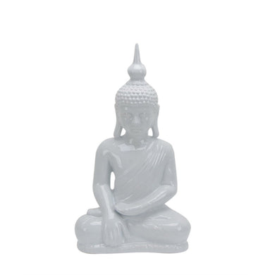 Ceramic Sitting Buddha With Pointed Ushnisha, White