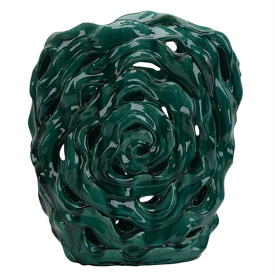 Vivid Refluent Decorative Ceramic Abstract Vase, Green