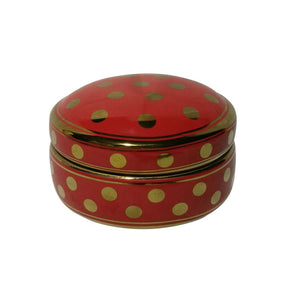Well-Designed Ceramic Covered Dotted Jar, Red And Gold