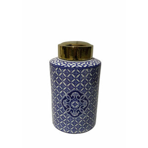 Polished Ceramic Covered Jar, Blue And White