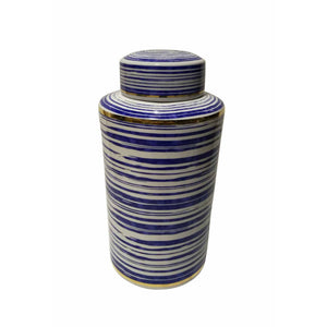 Ceramic Covered Jar With Horizontal Stripe, Blue And White