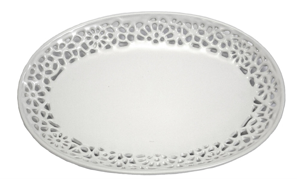 Sophisticated Pierced Ceramic Plate, White