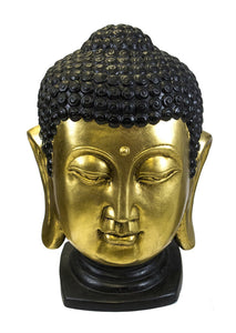 Ceramic Buddha Head Sculpture, Black And Gold