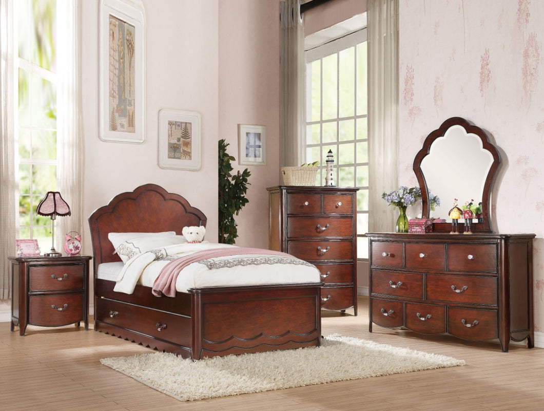 Majestic Twin Bed With Wooden Headboard, Cherry Brown