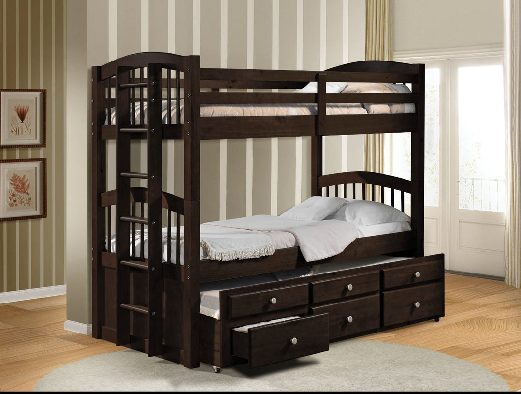 Wooden Twin/Twin Bunk Bed & Trundle with 3 Drawers, Brown