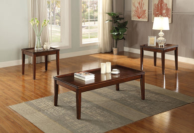 Classic Wooden Coffee/End Table Set, 3 Piece Pack, Walnut Brown