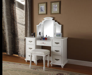 Wooden Vanity Desk with 7 Drawers & Stool, White