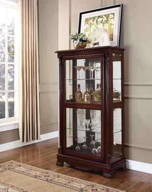 Wooden & Glass Curio Cabinet, Cherry Brown