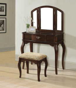 Wooden Vanity Desk with 1 Drawer & Stool, Cherry Brown