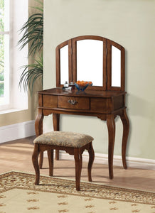 Wooden Vanity Desk with 1 Drawer & Stool, Oak Brown