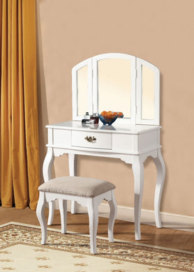 Wooden Vanity Desk with 1 Drawer & Stool, White