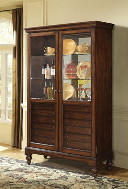 Commodious Wooden Curio Cabinet, Cherry Brown