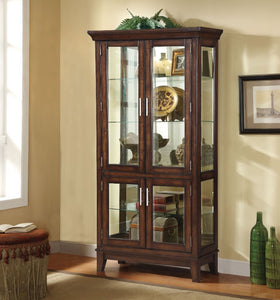 Modish Wooden Curio Cabinet, Cherry Brown