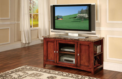 Wooden TV Stand With Faux Marble Top Cherry Brown