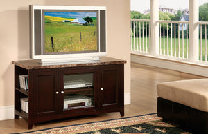 Wooden TV Stand With Faux Marble Top Espresso Brown