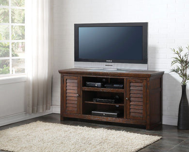 Wooden TV Stand With Drawers, Dark Oak Brown