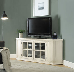 Wooden Corner TV Stand With Glass Doors, Antique White