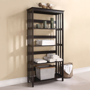 Wooden Shelf Rack With 4 Shelves, Espresso Brown