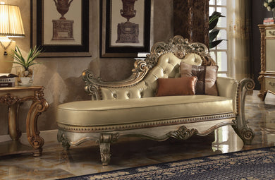 Wooden Gracious Chaise with 2 Pillows, Gold Patina & Bone
