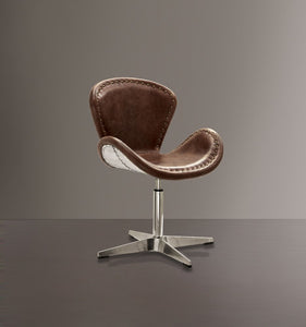 Retro Top Grain Leather Accent Chair with Swivel, Brown & Silver