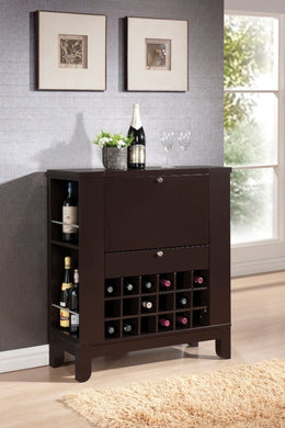 Wooden Wine Cabinet with Drawer, Brown