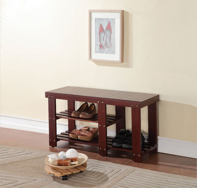Wooden Bench With 2 Shelves, Dark Walnut Brown