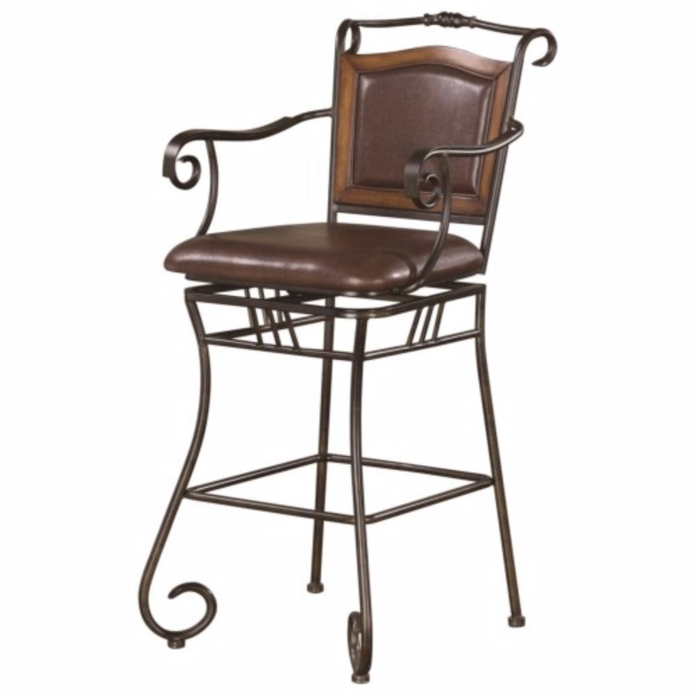 Wood Accented Metal Bar Stool with Upholstered Seat, Black & Brown