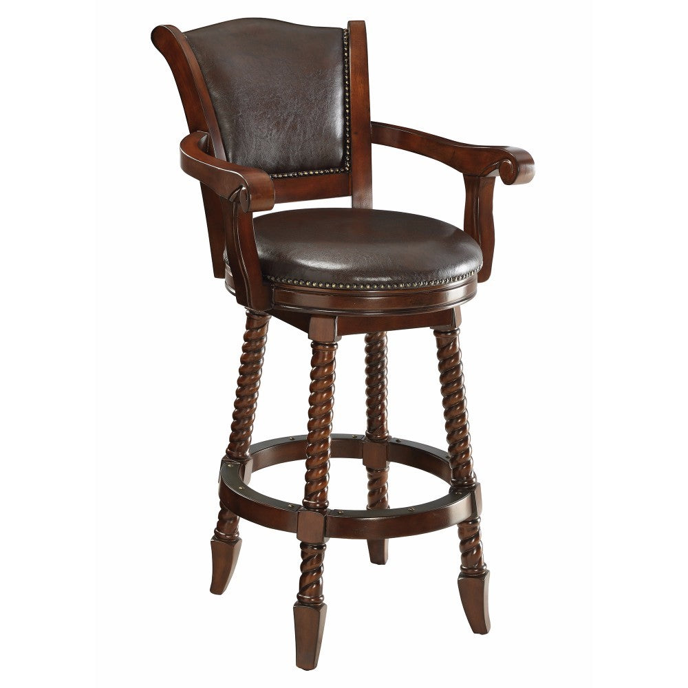 Traditional Rope Twist Wooden Bar Stool, Brown