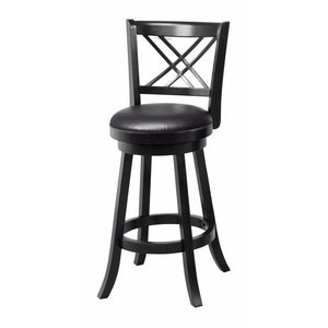 "Classic 29"" Swivel Bar Stool with Upholstered Seat, Black"