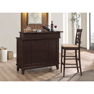 Contemporary Bar Unit with Wine and Stemware Storage, Brown