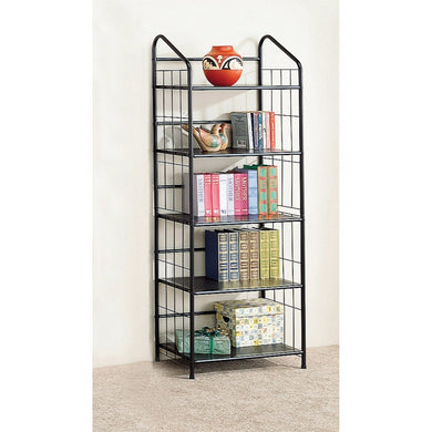 Casually Stylish Metal Bookcase, Black