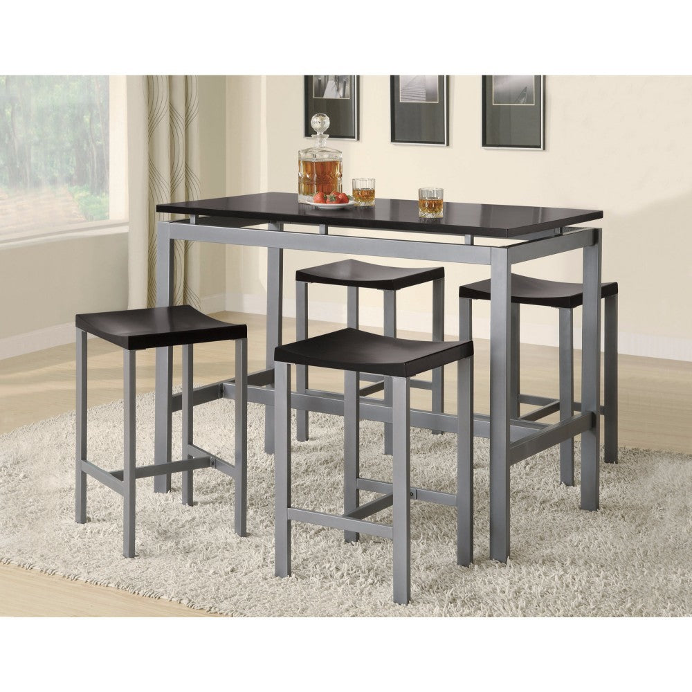 Counter Height Contemporary Metal Table with 4 Stools, Silver And Black
