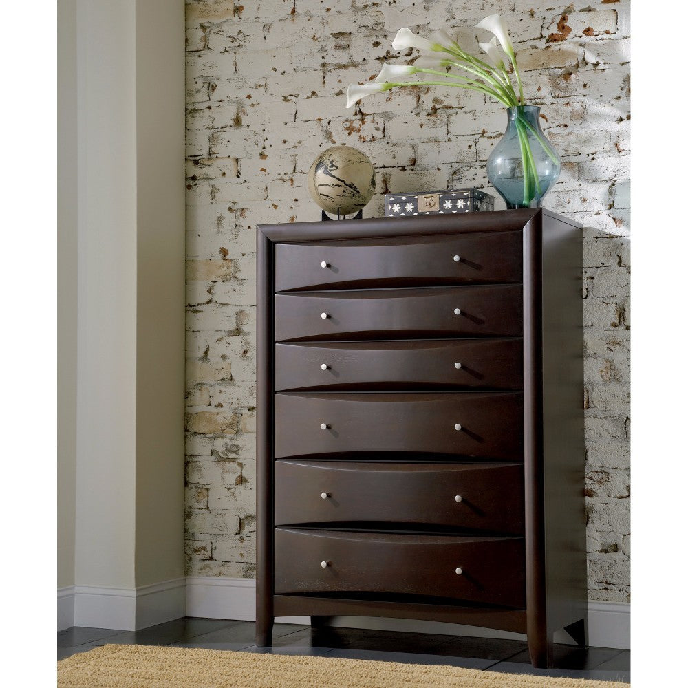 Sophisticated Contemporary Style Chest With 6 Storage Drawers, Brown