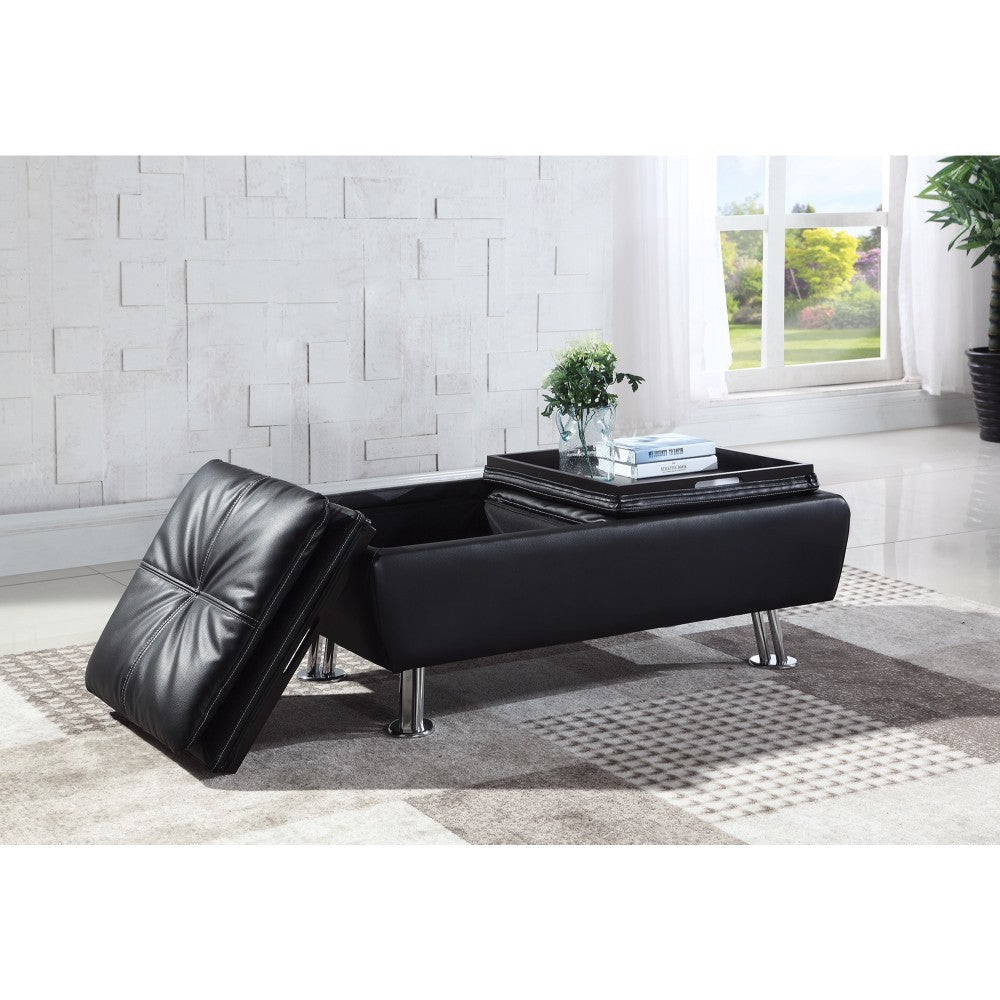 Faux Leather Storage Ottoman with Reversible Tray Tops, Black