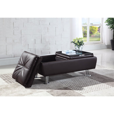 Storage Ottoman with Chrome Legs , Brown