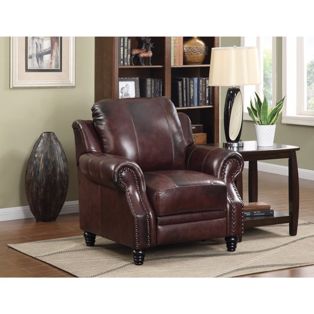 Push-Back Leather Recliner, Brown
