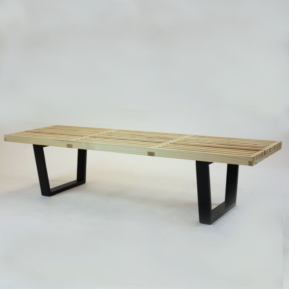 Nelson Style Bench Natural W/ Wood Legs (5ft)
