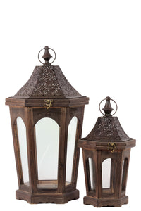 Classic Lamp Post Design Wooden Lantern Set Of Two In Rustic Antique Finish
