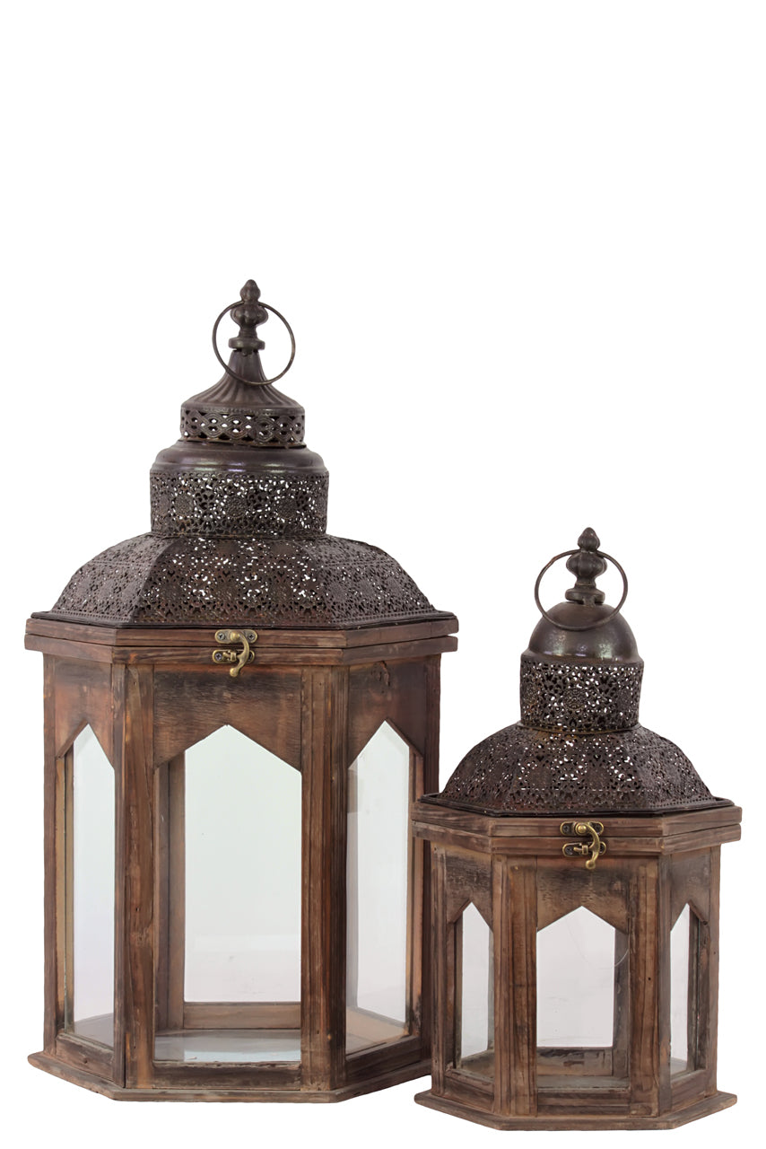Persian Style Wooden Lantern Set Of Two In Antique Brown Finish W/ Dome Shaped Roofs