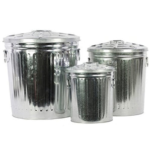 Set Of Three Metal Storage With Classic Garbage Can Design - Zinc