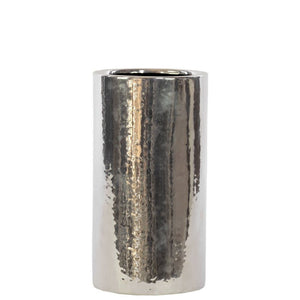 Ceramic Cylindrical Vase Small Chrome Silver