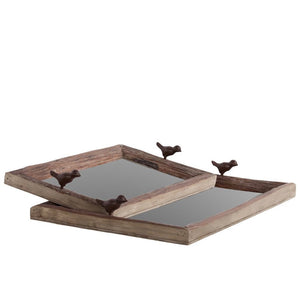 Wooden Tray Brown Set of Two - Brown