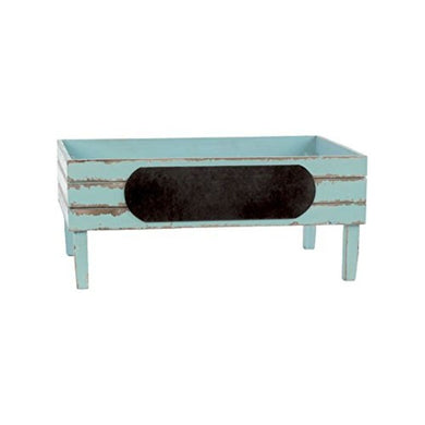 Wooden Crate With Black Stadium Label - Light Blue