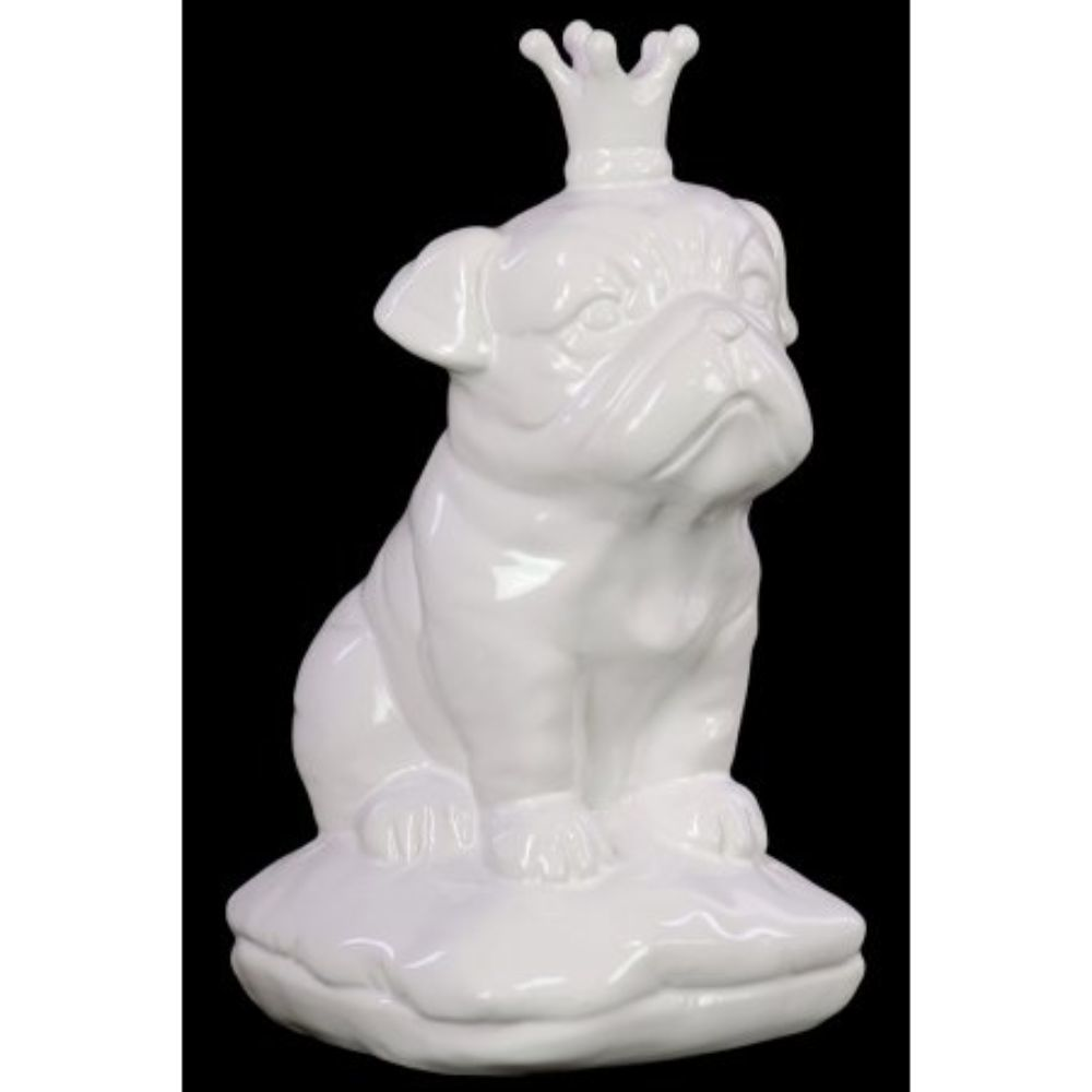 Ceramic British Bulldog With 5 Spiked Crown Sitting On A Cushion Gloss White