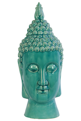 Compulsive & Spiritual Ceramic Buddha Head In Blue