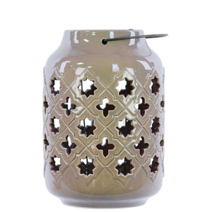 Ceramic Lantern With Metal Handle Octagram And 4-Point Star Design - Tan