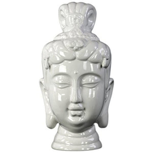 Ceramic Buddha Head Decor - White